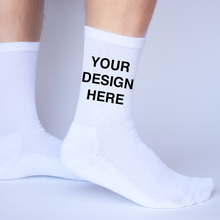 Load image into Gallery viewer, White Cotton DTGsockprints Crew Socks by the Pair (6 pr minimum) - Small, Medium, Large
