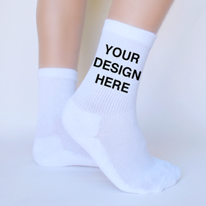 White Cotton DTGsockprints Crew Socks by the Pair (6 pr minimum) - Small, Medium, Large