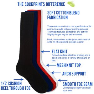 Black Cotton DTGsockprints  Sport Knee High Socks by the Pair (6 pr minimum) -  Medium, Large