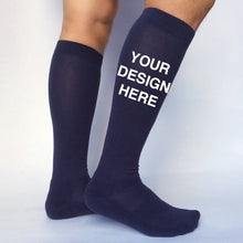 Load image into Gallery viewer, Navy Cotton DTGsockprints  Sport Knee High Socks by the Pair (6 pr minimum) -  Medium, Large