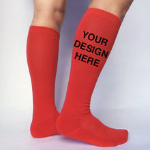 Load image into Gallery viewer, Red Cotton DTGsockprints  Sport Knee High Socks by the Pair (6 pr minimum) -  Medium, Large