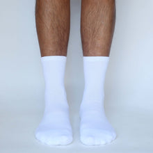 Load image into Gallery viewer, DTGsockprints - Pre-loaded and Ready to Print White Unisex Short Cotton Crew Socks - Small, Medium, Large - Sold in 3 Quantity Variations