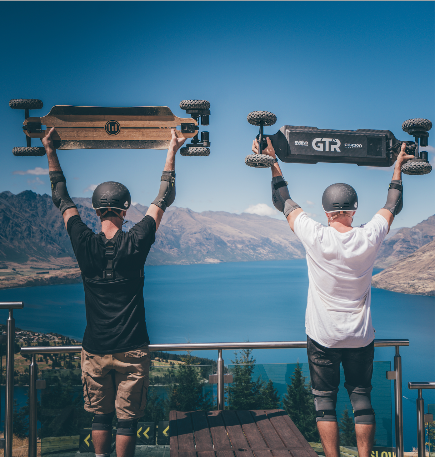 riding an electric skateboard with mates