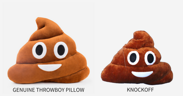 Genuine Throwboy Pillow (Left), Knockoff pillow (Right)