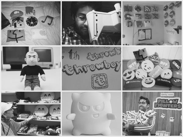 mosaic photo of 9 historic images of Throwboy's history (from left to right): The first icon pillow collection, Roberto sewing, the original Throwboy factory, iCEO, hand drawn Throwboy logos, couch full of pillows, Grandma looking at pillows in store, Pillow Fighter vinyl toy, Roberto holding Pillow Fighters