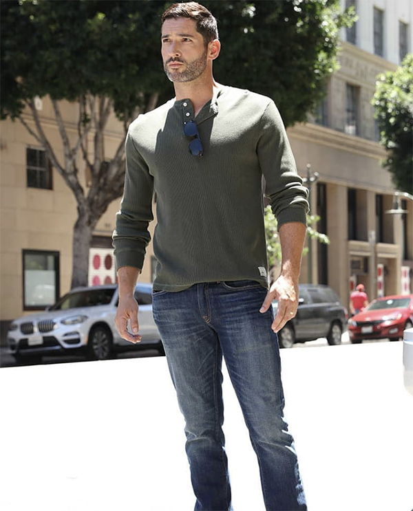 Lucifer actor, Tom Ellis wearing Rupert and Buckley in LA