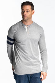 """Sollway"" Mens Jersey Henley In Grey"