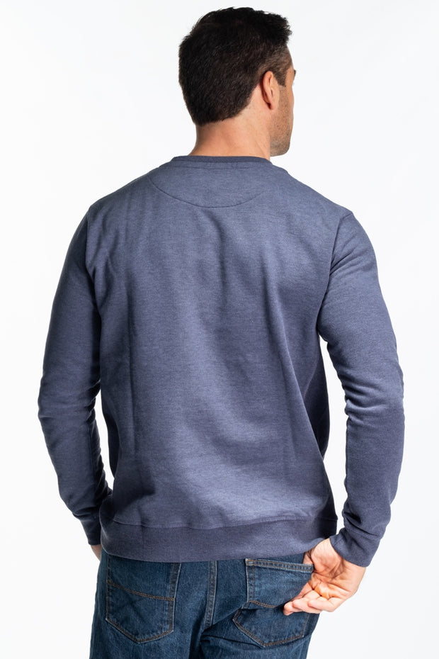 """Lomand"" Mens Brushed Cotton Crew In Steel Blue"