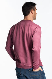 """Lomand"" Mens Brushed Cotton Crew In Plum"