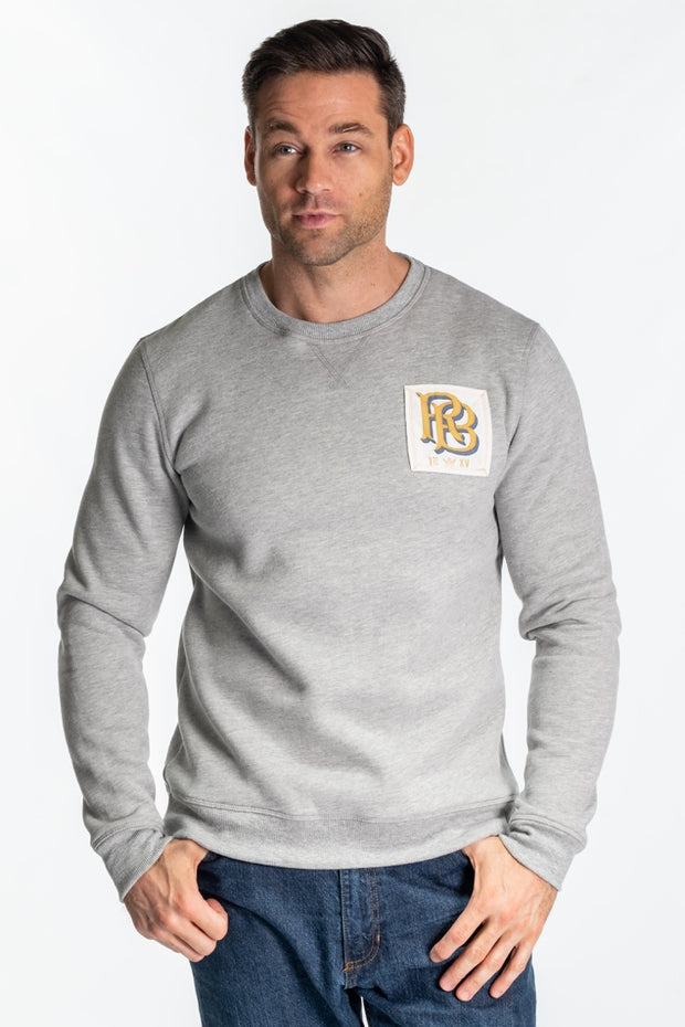 """Stour"" Mens Washed Brushback Crew In Grey Marl"
