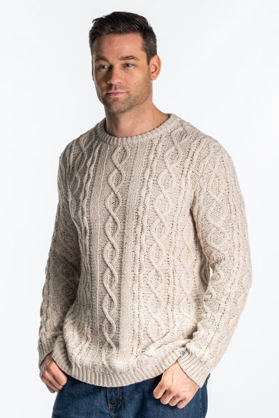 """Leadon"" Mens Chunky Cable Knit In Oatmeal"