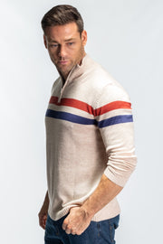 """Gair"" Mens Mid Weight Knit With Neck Zip In Cream"