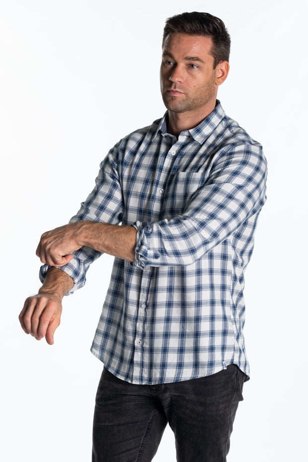 """Ard"" Mens Cotton Twill Check Shirt In Navy Check"