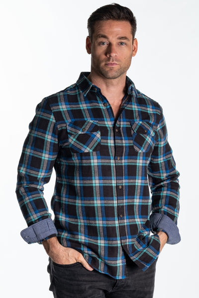 """Arrow"" Mens Heavy Brushed Cotton Flannel Shirt In Blue Check"