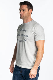 """Dart"" Mens Soft Jersey Print T Shirt In Grey Marl"
