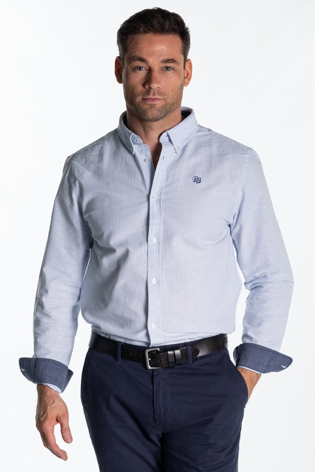"""Arun"" Mens Classic Cotton Oxford Shirt In Blue Stripe"
