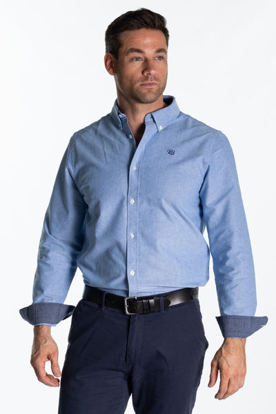 """Arun"" Mens Classic Cotton Oxford Shirt In Light Blue"