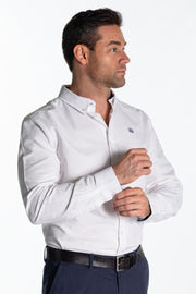 """Arun"" Mens Classic Cotton Oxford Shirt In White"