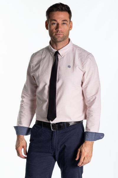 """Arun"" Mens Classic Cotton Oxford Shirt In Pink"