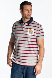 """Frome"" Mens Heavy Cotton Pique Polo In Grey/Plum Stripe"