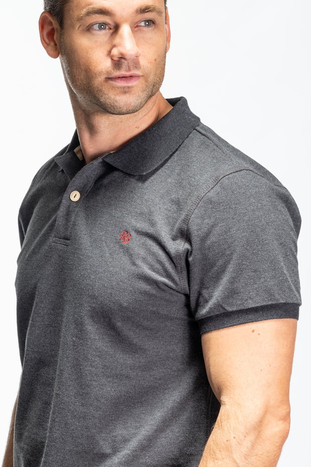 """Itchen"" Mens Heavyweight Pique Polo In Charcoal"