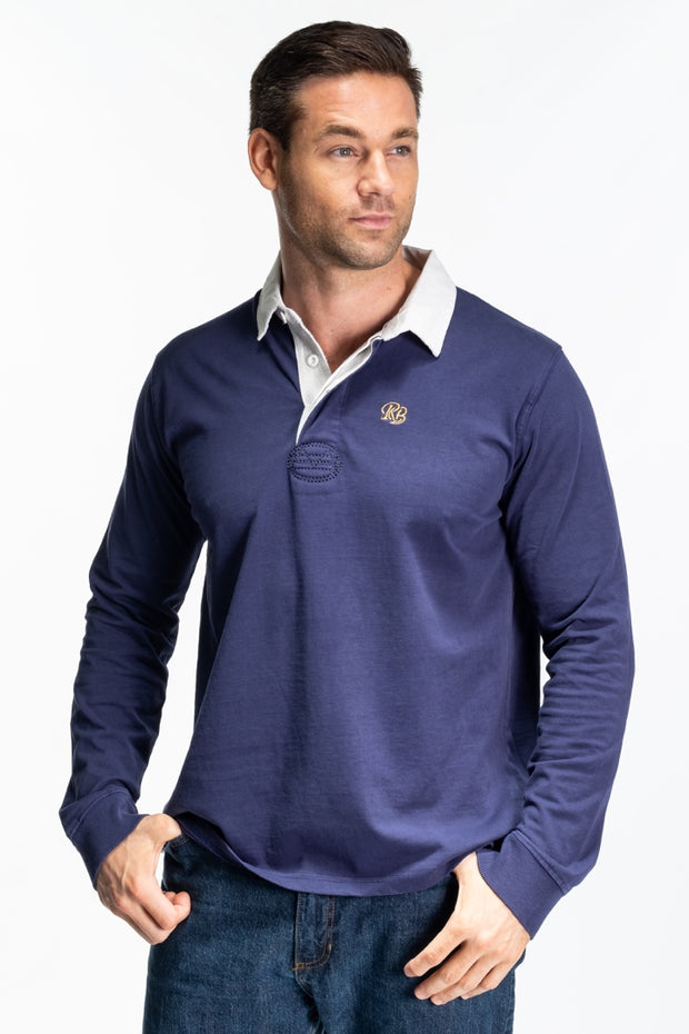 """Ash"" Mens Traditional Rugby In Navy"