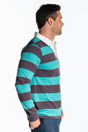 """Earn"" Mens Heavyweight Cotton Rugby In Green Stripe"