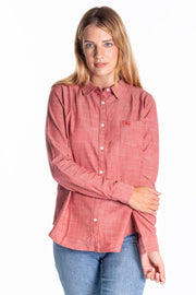 """Tora"" Ladies Brushed Cotton Oxford Boyfriend Fit Shirt In Pink"
