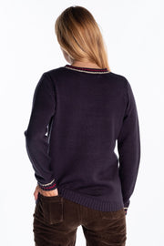 """Tay"" Ladies Embroidered Buckley Crew In Navy"