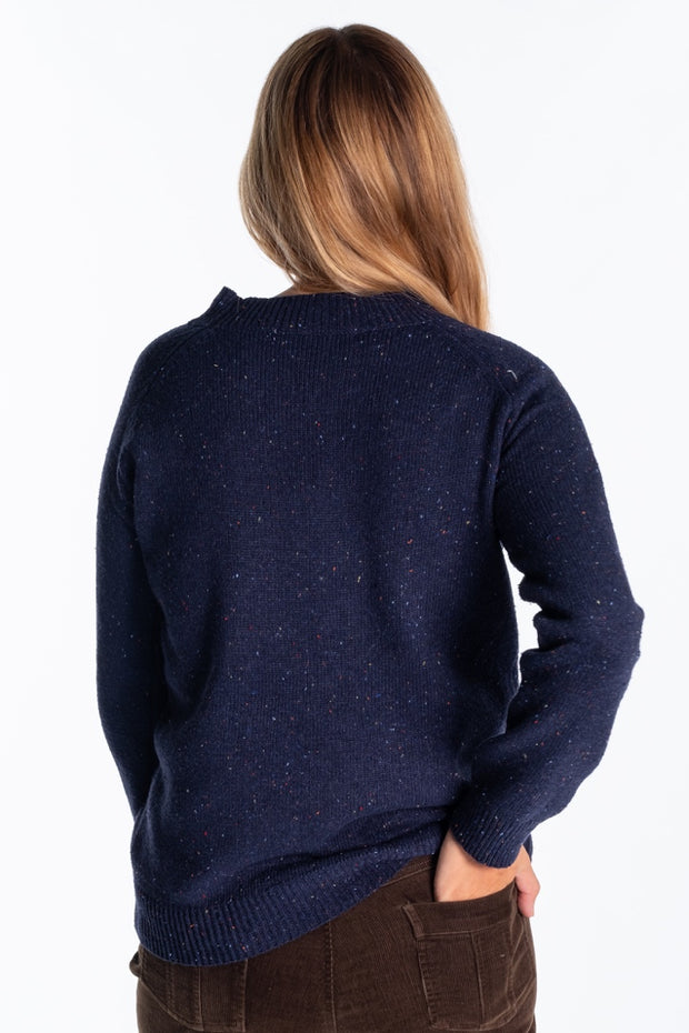 """Orwell"" Ladies Tweed Wool Blend High Neck Long Crew In Navy"