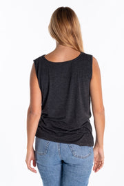 """Doe"" Ladies Drapey Style Sleeveless Vest In Charcoal"