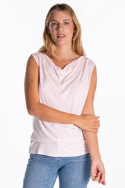 """Doe"" Ladies Drapey Style Sleeveless Vest In Pink"