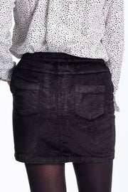 """Cary"" Ladies Needle Cord Skirt In Charcoal"