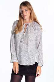 """Hayle"" Ladies Drapey Print Blouse In Polka Dot"