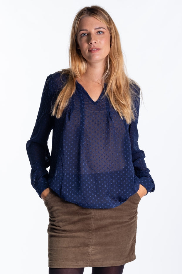 """Eileen"" Ladies Sheer Dobby Fabric Flowy Shirt In Navy"