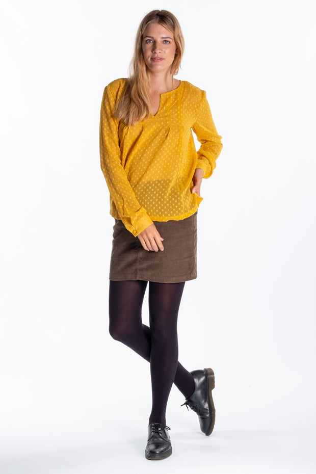 """Eileen"" Ladies Sheer Dobby Fabric Flowy Shirt In Mustard"