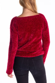 """Rusky"" Ladies Heavyweight Soft Yarn Cable Knit In Plum"