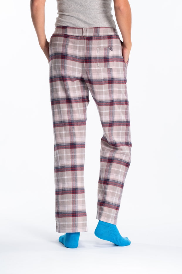"""Clyde"" Ladies Soft Brushed Flannel Check Loungepants In Burgundy Check"