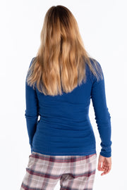"""Cam"" Ladies Fine Rib Henley In Navy"