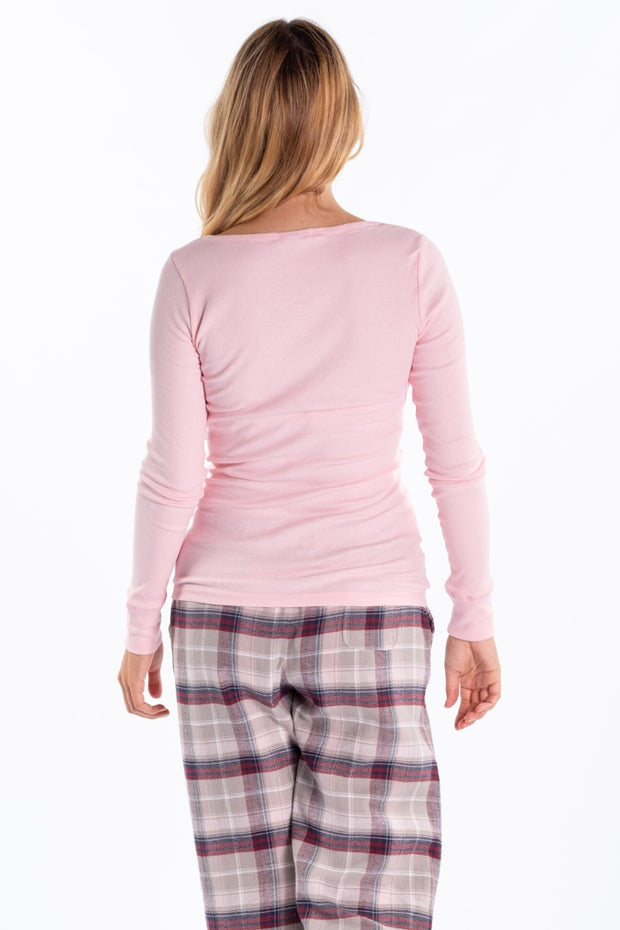 """Cam"" Ladies Fine Rib Henley In Pink"