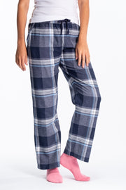 """Clyde"" Ladies Soft Brushed Flannel Check Loungepants In Navy"