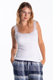 """Swale"" Ladies Fine Ribbed Vest In White"