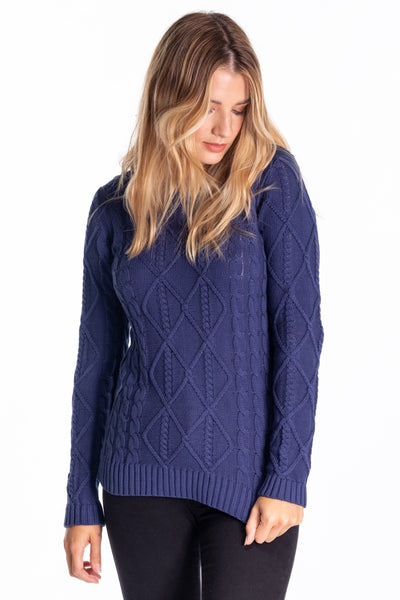 """Broom"" Ladies Cotton Cable Knit In Navy"