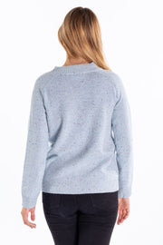 """Orwell"" Ladies Tweed Wool Blend High Neck Long Crew In Aqua"