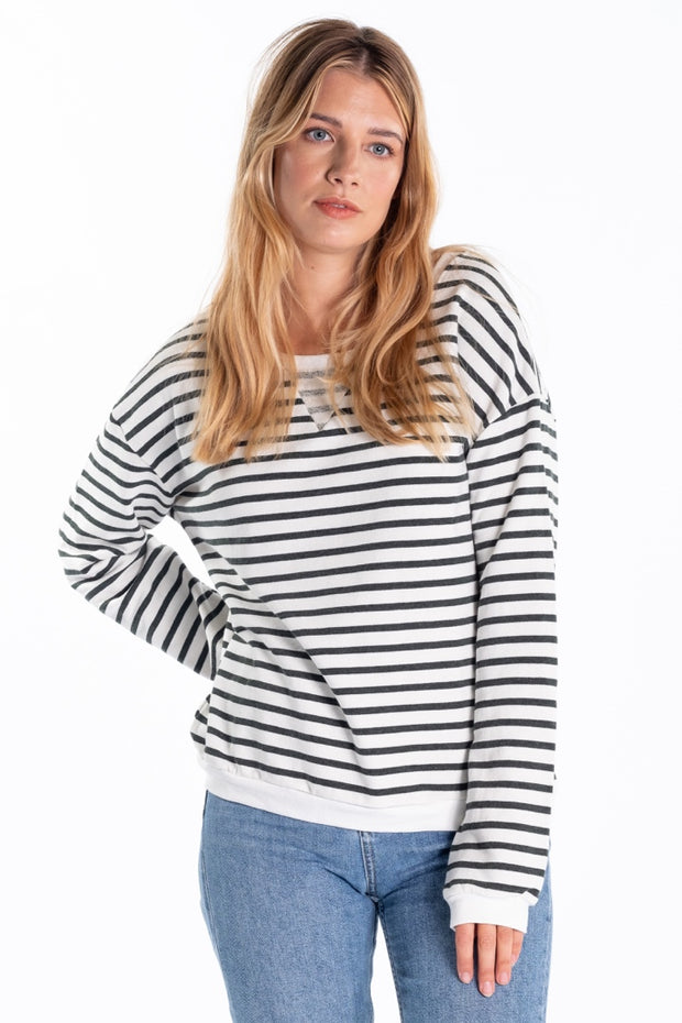 """Ruthven"" Ladies Loopback Jersey Crew Neck In Olive Stripe"
