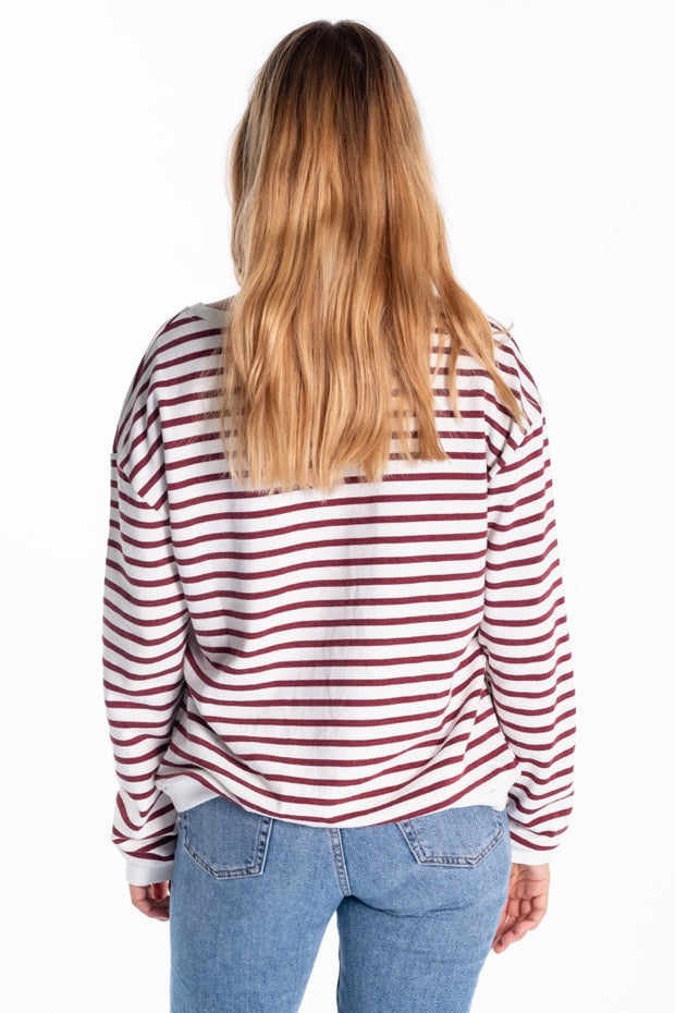 """Ruthven"" Ladies Loopback Jersey Crew Neck In Plum Stripe"