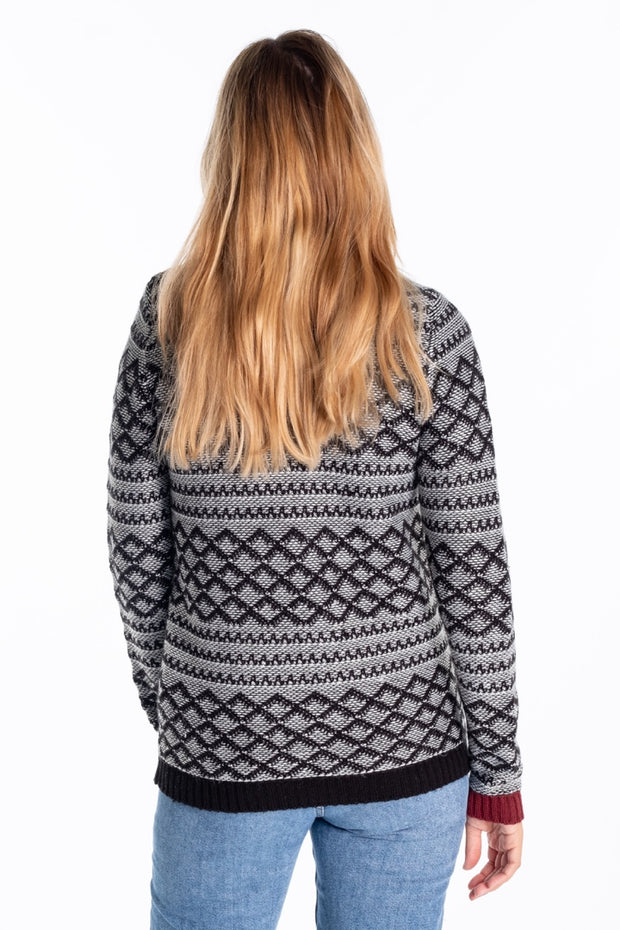 """Brook"" Ladies Fairisle Knitted Crew In Black/White"
