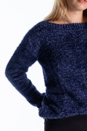 """Rusky"" Ladies Heavyweight Soft Yarn Cable Knit In Navy"