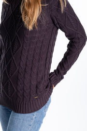 """Broom"" Ladies Cotton Cable Knit In Charcoal"