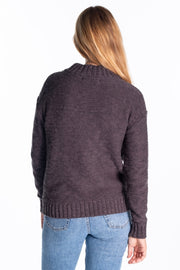 """Brent"" Ladies High Neck With Gold Speckle Yarn In Grey"